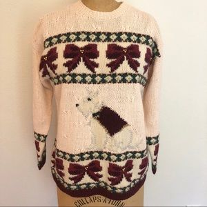 Vtg Christmas Sweater w/ Dog And Bows 1996